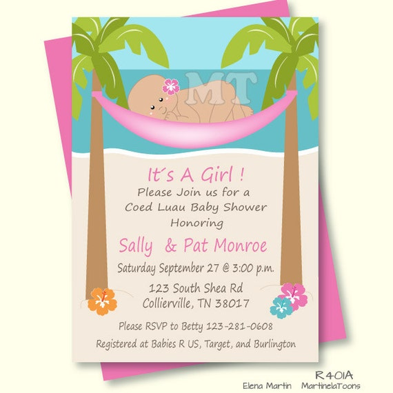 diy tropical baby shower invitation hawaiian baby girl, Baby shower invitations