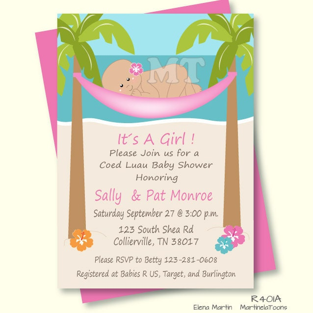 diy tropical baby shower invitation hawaiian baby girl