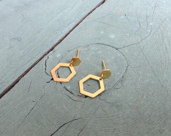 Gold Hexagon Earrings, Geometric Gold Jewelry, Statement Jewelry, Minimalistic Dangle Earrings, Gift Under 25