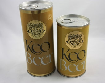 Vintage Keo Beer Pull Tab Beer Can Lot of Two Collectible Old Steel Cans!