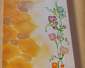 Hand painted silk scarf - Tender freesias - flower scarf- freesia silk scarf