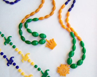 Vintage Collectible Mardi Gras Beads Plastic Rex Krewe King of Carnival 1973 set of 3 New Orleans hard to find Toss Bead Necklaces