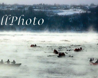 Winter Race Canoes Photography - Boat Nautical Photography - 4x6 -8x10 -8x12 -11x14 -12x18 -16x20 -16x24 -20x24 -20x30 -24x36