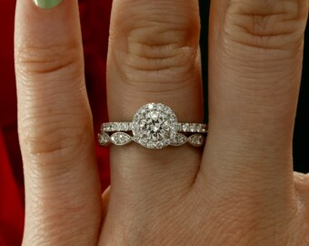 Moissanite Wedding Set with Diamonds, Forever Brilliant Moissanite engagement ring (avail. in rose gold, yellow gold, white gold, platinum)