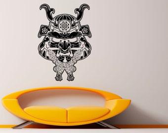 Samurai Mask Wall Decal Vinyl Stickers Japan Warrior Art Interior Bedroom Removable Home Decor (3wri)