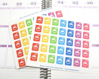 Laundry Day Planner Stickers - Washing Machine Washers Planning Stickers fits Erin Condren - Filofax - Plum - Kikki Planner 1670
