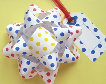 Polka Dot Bows & Tags in Red, Blue and Yellow - DIY, Instant Download, Gift Wrap, Digital Print, Cut Out Craft, Craft Kit, Birthday