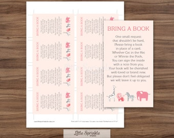 Pink Safari Bring a Book Instead of a Card Jungle Zoo Animals / Pink Baby Girl Shower / Bring a Book Printable Digital / INSTANT DOWNLOAD