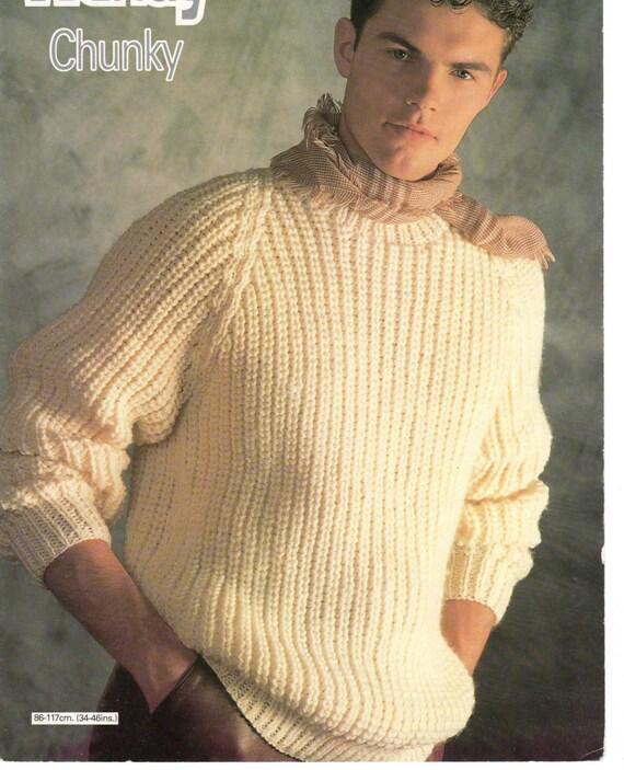 mens sweater chunky knitting pattern 99p pdf