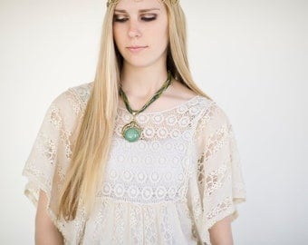 Bohoemian Necklace, Boho Necklace, Beaded Necklace, Pendant Necklace, Green, Emerald, Hippie Necklace