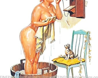 "Vintage Pinup Art Girl // 8""x10"" Printable Digital Download // Hilda by Duane Breyers - Bathing Beauty Takes a Call"