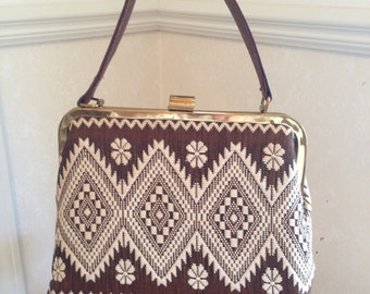 Vintage Lanza-Mex brown & cream textile handbag, 1950's