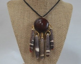 Unique Nut and Shell Pendant Necklace