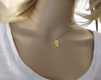 Gold necklace, Gold Child Necklace, child necklace, child pendant, gold child pendant, gold pendant, charm, chain gold filled