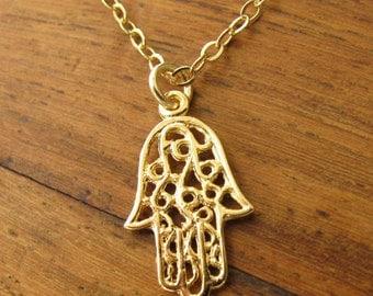 Hamsa necklace gold, luck necklace Gold hamsa,  gold filled 14k hamsa necklace, hand necklace gold, jewelry necklace, unique gift, hamsa
