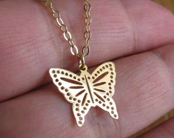 Butterfly necklace, Simple butterfly necklace, gold butterfly necklace, rose gold butterfly necklace, dainty butterfly necklace