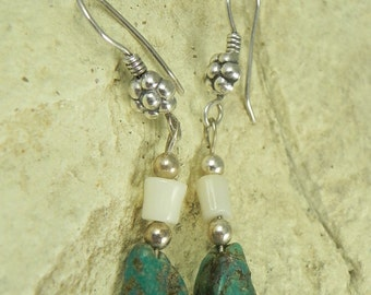 Turquoise Nugget Sterling Earrings