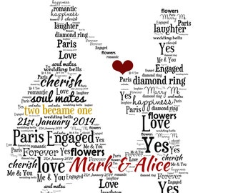 Personalised Word Art - A proposal/couple design - Digital File