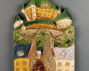 Château Frontenac carved on wood (stylized)
