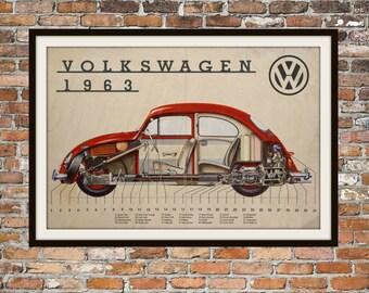 Volkswagen Bug Cutaway of 1963 Vintage Volkswagen Beetle, Volkswagen Beetle or Bug VW Bug Art Vintage Advertising of Volkswagen Item 0111