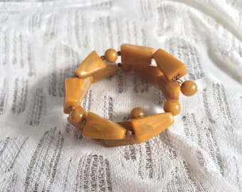 Mustard Beaded Wrap Around Bracelet, 1980's Vintage
