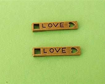 30 pcs 21x4mm antique bronze love sings double loops connectors links charms pendants