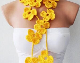 Yellow Flower Scarf, flower scarf, hand crochet, lariat scarf, strand necklace, boho scarf, crochet jewelry