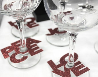 Wine glass identifiers — Peace, Love, Joy, Hope party tags — Unique gift