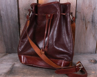 Vintage Brown Leather Purse Messenger Bag, Drawstring