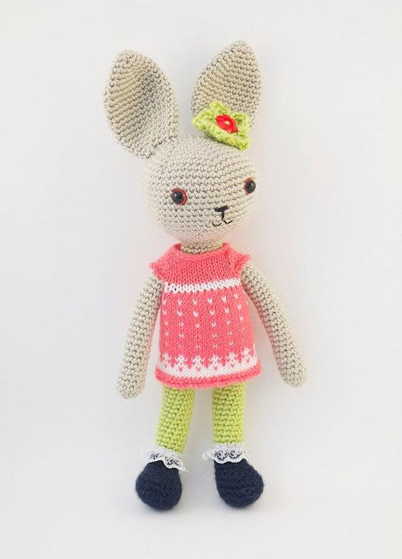 Amigurumi Crochet Dress : Amigurumi crochet doll Gorgeous bunny rabbit with knitted