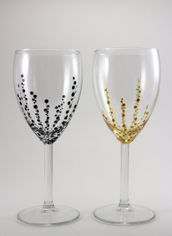 Items Similar To Hand Painted Wine Glasses Silver Gold