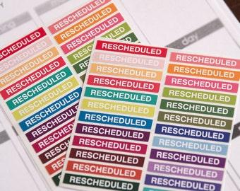 48 rescheduled stickers, planner stickers, scrapbook reminder, appointment sticker, meeting sticker, eclp filofax happy planner kikkik