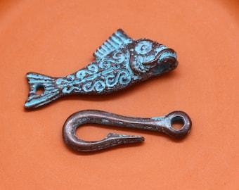 2 Rustic Fish Clasps, Green Patina, 45 mm, Mykonos Greek Metal Casting, MK90