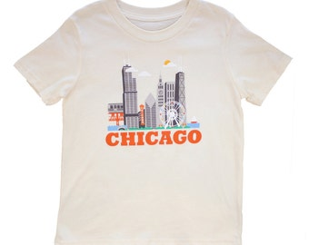 Kids Organic Tshirt - Chicago City Living Design- Short Sleeve TShirt - Show Off Your Favorite City