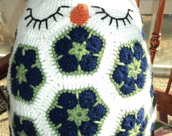 Sleepy the Crochet Owl Pillow