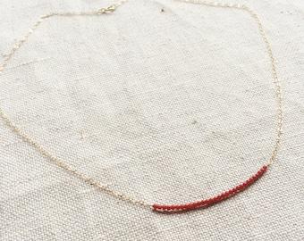 Red Coral Necklace - Coral Necklace - Tiny Coral Necklace - Natural Coral Necklace - Gold Coral Necklace - Coral jewelry -Coral Jewellry
