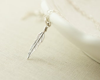 Dainty sterling silver feather necklace
