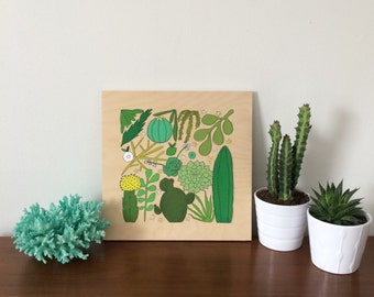 SOLD - Hand-painted Cactus & Succulent Art on Birch Panel