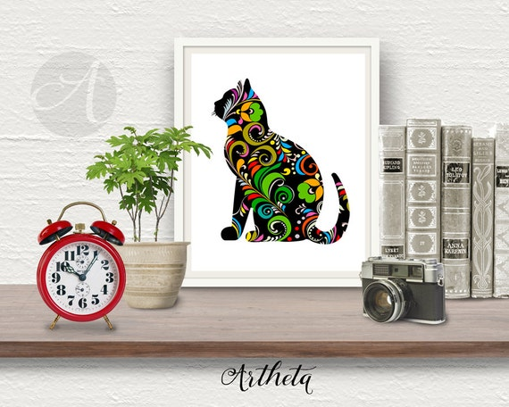 Printable artwork wall poster pop art cat 8x10 inch by artheta for 8x10 office design