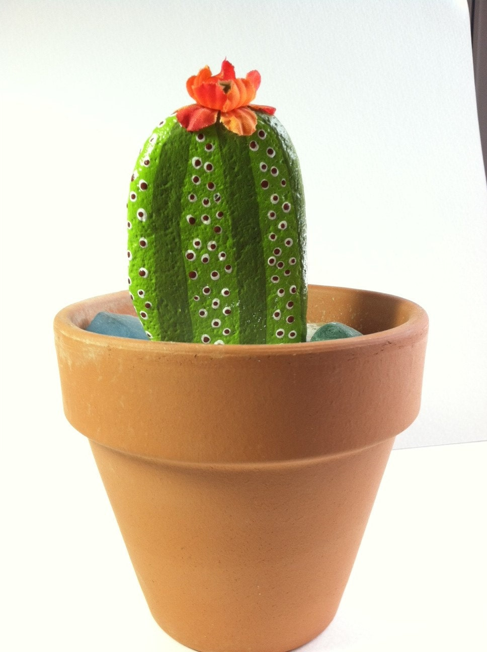 Cactus Dish Garden Hand Painted Cactus Rock Terra Cota Stone