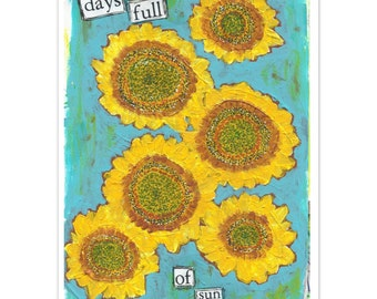 Sunflowers mixed media art note cards
