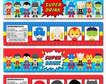 Superhero Water Bottle Label, Superhero Water Labels, Superman Water Labels