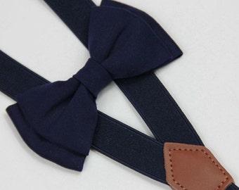 Navy blue bow tie,boy bow tie,men bowtie/bow tie,navy blue suspenders,infant bowtie,toddler bowtie,wedding bowtie