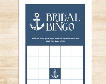 Bridal Shower Bingo Game DIY // Navy Blue and White Anchor // Nautical Bridal Bingo Printable PDF // Wedding Shower Game ▷ Instant Download