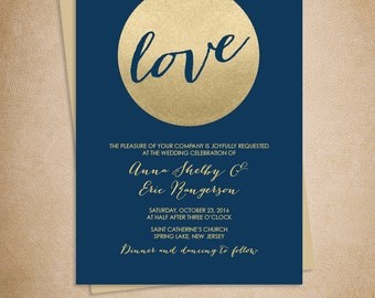 Gold Sparkle Wedding Invitation / Metallic Gold Glitter Circle on Navy Blue Background  ▷ Printable File {or} Printed & Shipped
