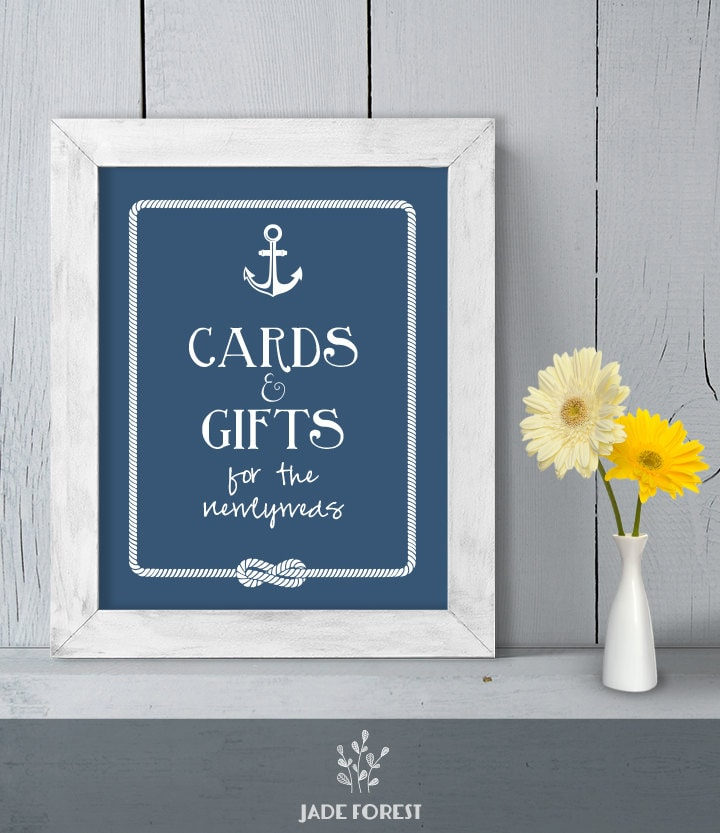 Wedding Gift Table Signage : Gift Table Poster DIY Printable // Nautical by JadeForestDesign