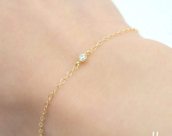 Tiny Cubic Zirconia Solitaire bracelet- Delicate gold filled chain,CZ stone bracelet,Minimalist jewelry,Simple jewelry for everyday