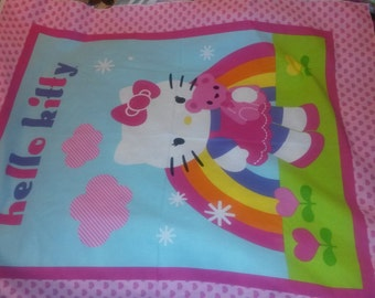 Hello Kitty Baby Quilt Top Panel With Rainbow/Hearts NEW
