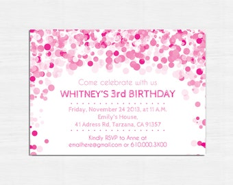 Pink Birthday Invitation, Printable birthday invitation, Children Birthday Party invitation, bokeh, Children party invitation, pink invite