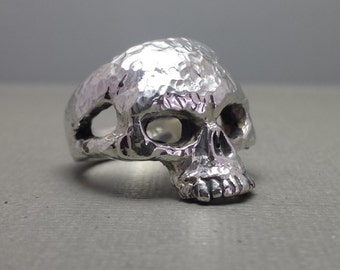 Sterling Silver Skull Ring With Hammered Finish